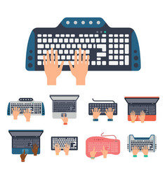 Users hands on keyboard and mouse of computer vector