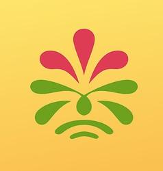 Vintage floral emblem design vector