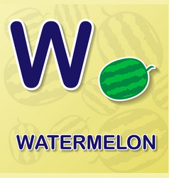 Watermelon alphabet background vector