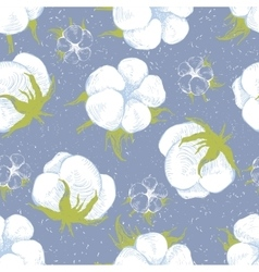 Cotton plant seamless pattern vector