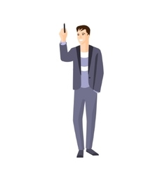 Man in jacket on sweater writing on whiteboard vector