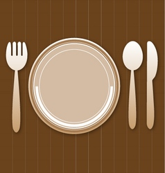 Vintage plate dish with fork and knife vector