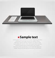 Table with computer on white background vector