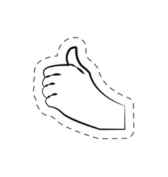 hand like up finger cutted line vector image