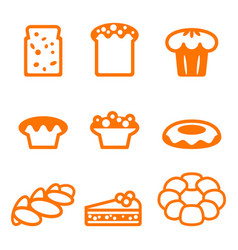 Set of icons depicting desserts realistic style vector