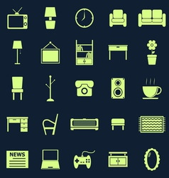 Living room color icons on blue background vector