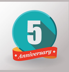 5 anniversary label with ribbon vector