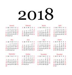 2018 calendar template simple design vector image