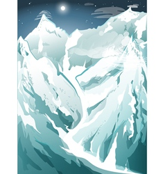 Winter in the high snowy mountains vector