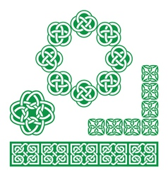 Irish celtic green design - patterns knots vector