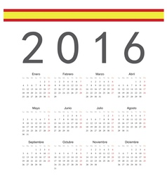 Square spanish 2016 year calendar vector image