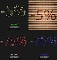 5 75 70 icon set of percent discount on abstract vector