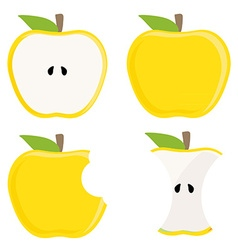 Yellow apple set vector