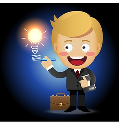 Businessman holding pen drawing light bulb vector
