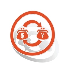 Dollar-yen trade sign sticker orange vector