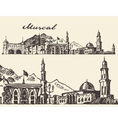 Muscat engraved hand drawn sketch vector