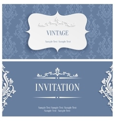 Grey 3d vintage invitation card with floral vector
