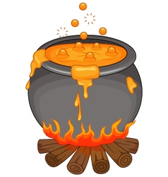 Cartoon halloween cauldron isolated vector