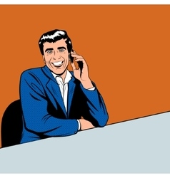 Businessman speaking by phone vector