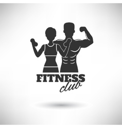Fitness club black and white poster vector