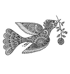 Hand drawn of ornamental fancy bird with flower vector