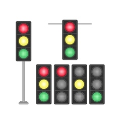 Set of traffic lights isolated on white background vector