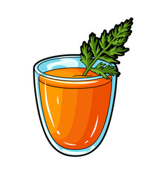 A glass with orange drink and a leafhealthy vector