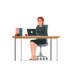 Business woman in a suit working on a laptop vector