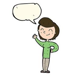 Cartoon friendly waving woman with speech bubble vector