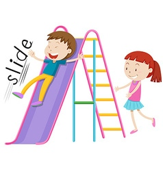 Children playing on the slide vector image