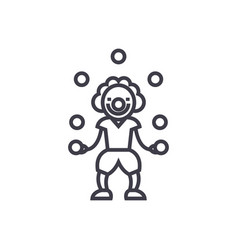 clown with balls line icon sign vector image