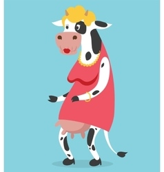 Cow old woman portrait on vector