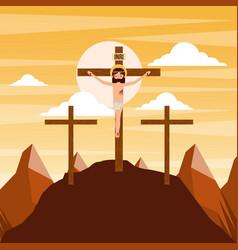 Crucifixion of jesus christ three crosses at vector