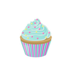 cupcake with blue cream and bright round sprinkles vector image