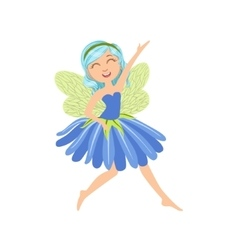 Cute Fairy In Blue Dress Girly Cartoon Character vector image vector image