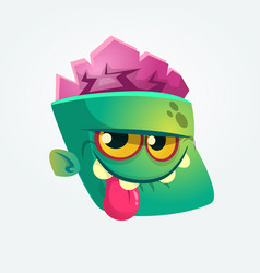 cute happy zombie head cartoon character vector image vector image