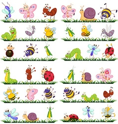 Different kind of insects on grass vector image vector image