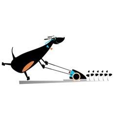 Dog lawnmower vector