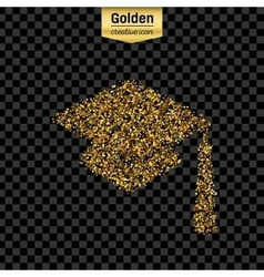 Gold glitter icon of square academic cap vector