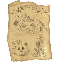 Halloween grunge icon set vector image vector image
