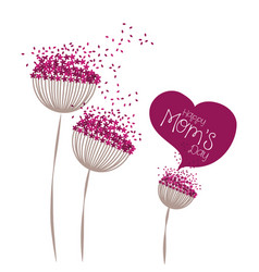 happy moms day greeting card floral vector image