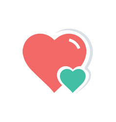 Heart amp mini icon red and green color vector