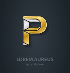Letter p template for company logo 3d design vector
