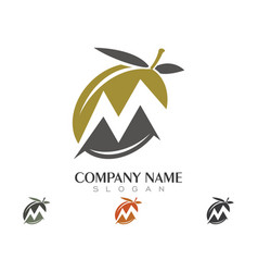 M letter olive logo template vector