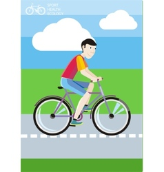 Man riding his bike on the road among green fields vector