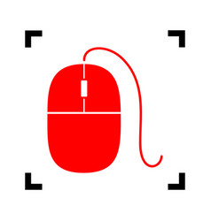 Mouse sign red icon inside vector