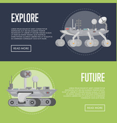 Planet exploration flyers with research rovers vector