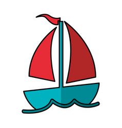 Sailboat summer isolated icon vector