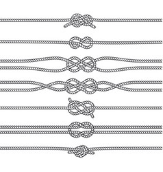 Sailing knots horizontal borders or deviders vector