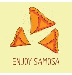 Samosa icon eastern cuisine hand drawn vector